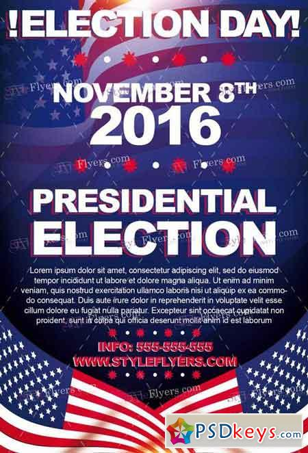 Election day psd flyer template facebook cover free for Voting flyer templates free