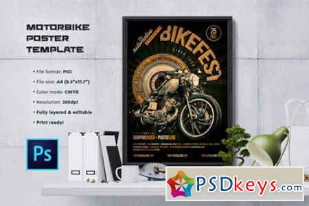 motorcycle flyer poster template 960259