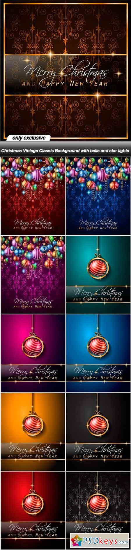 Christmas Vintage Classic Background with balls and star lights - 21 EPS