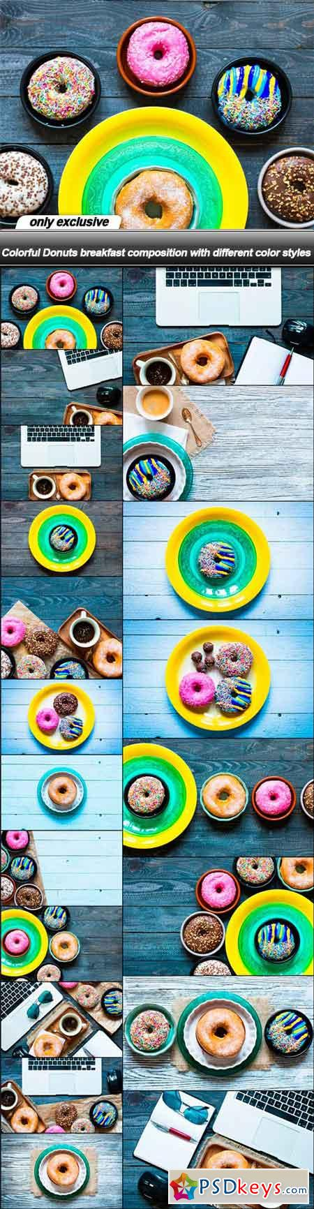 Colorful Donuts breakfast composition with different color styles - 20 UHQ JPEG