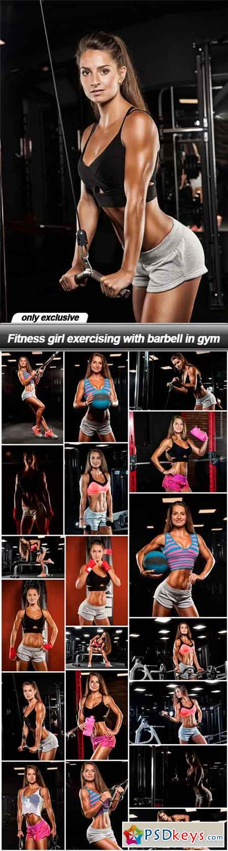 Fitness girl exercising with barbell in gym - 19 UHQ JPEG