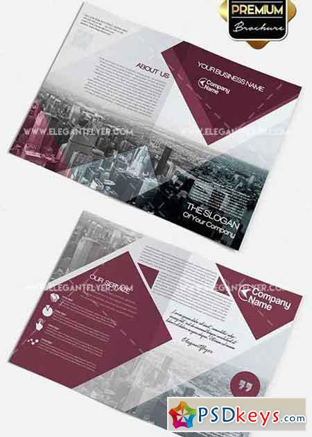 Business v2 premium bi fold psd brochure template free for Free bi fold brochure template 2