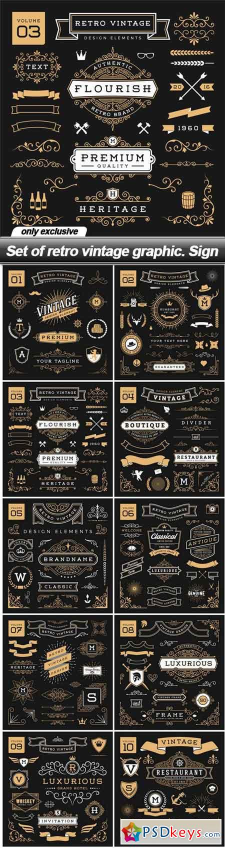 Set of retro vintage graphic. Sign - 10 EPS