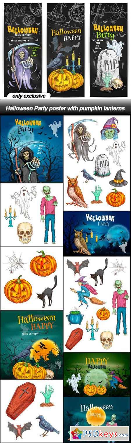 Halloween Party poster with pumpkin lanterns - 11 EPS
