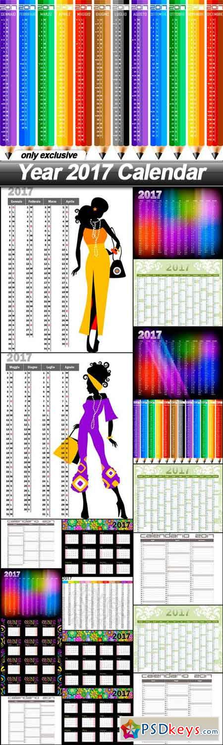Year 2017 Calendar - 18 EPS