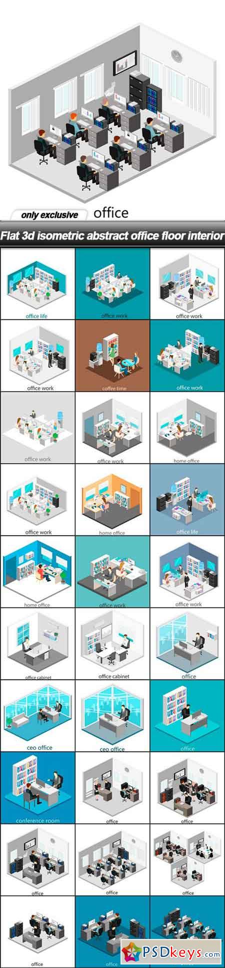 Flat 3d isometric abstract office floor interior - 30 EPS