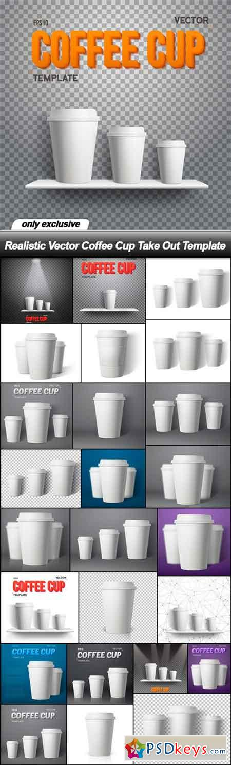 Realistic Vector Coffee Cup Take Out Template - 26 EPS