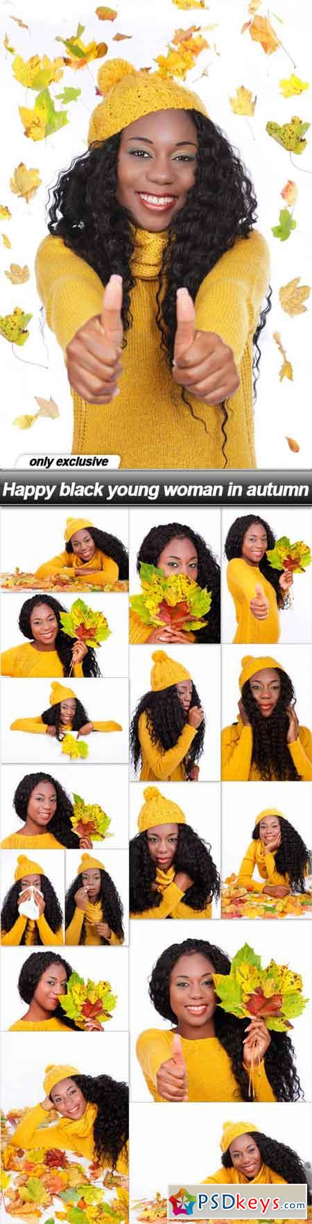 Happy black young woman in autumn - 17 UHQ JPEG