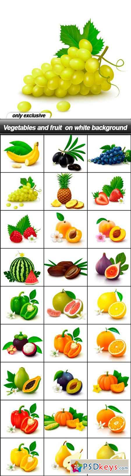 Vegetables and fruit on white background - 27 EPS