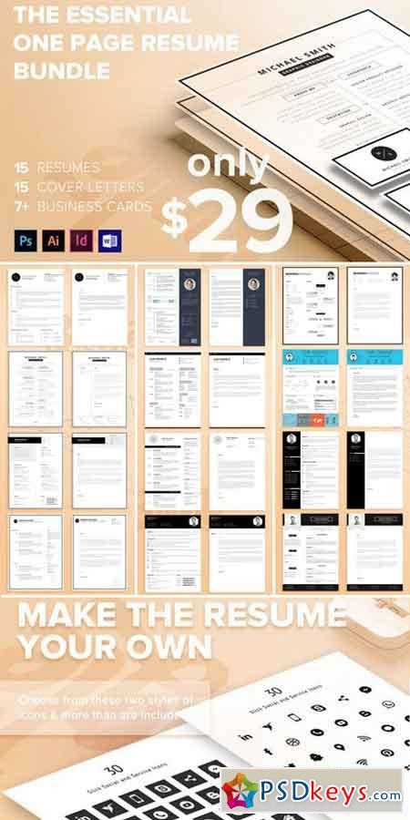 The Essential 1 Page Resume Bundle 940956