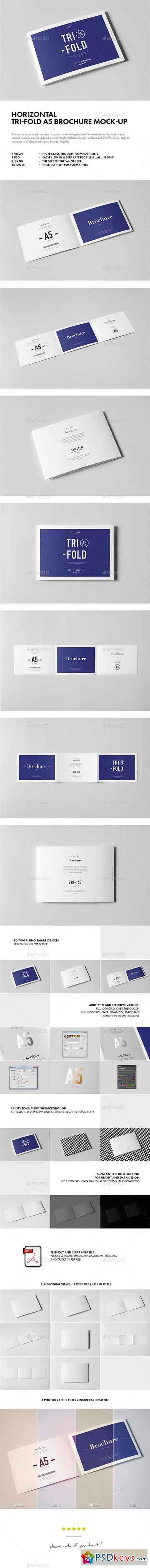Horizontal Tri-Fold A5 Brochure Mock-up 18037533