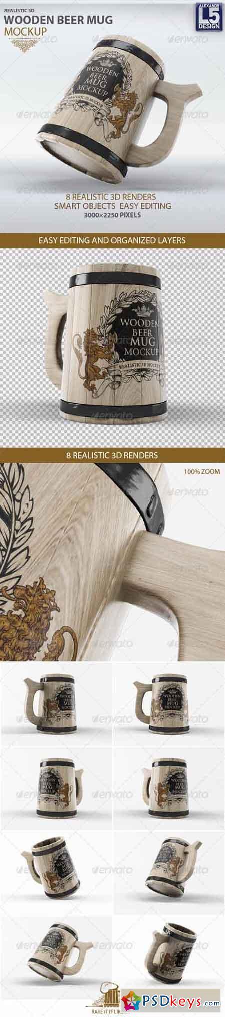 Wooden Beer Mug Mock-Up 8435828