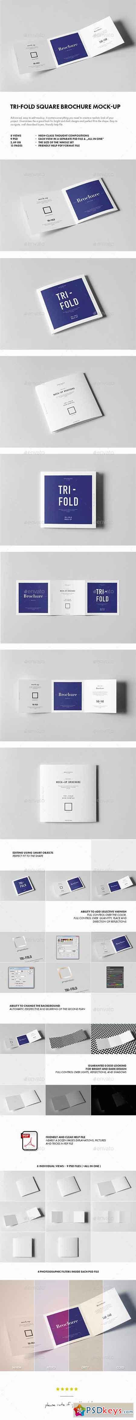 Tri-Fold Square Brochure Mock-up 18126309