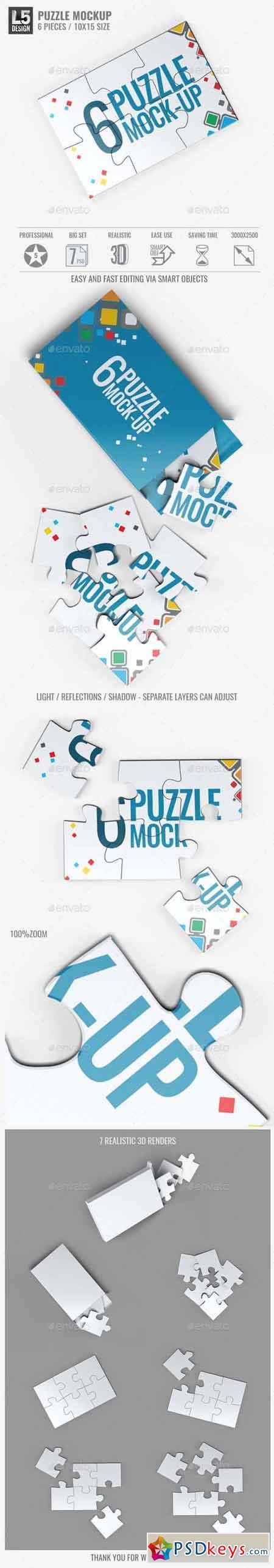 Puzzle 6 Pieces Mock-Up 15313109