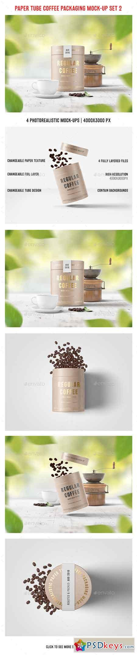 Paper Tube Coffee Packaging Mock-Up Set 2 17693579