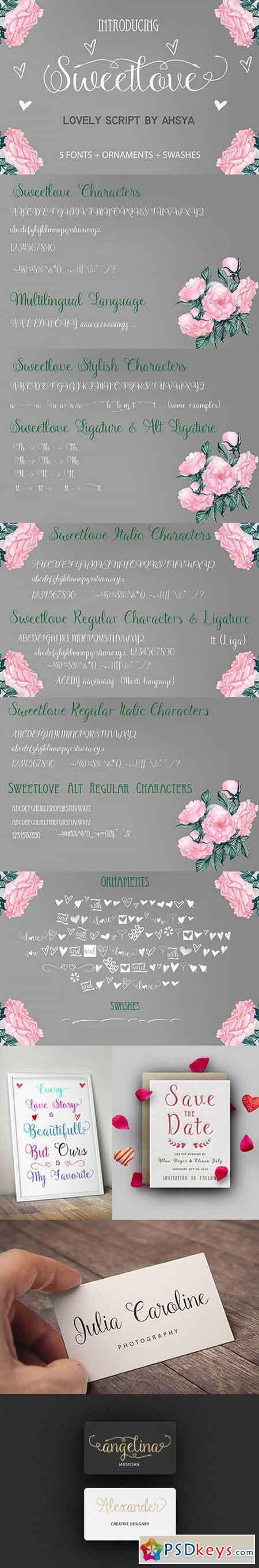 Sweetlove (Font Family + Bonus) 997013