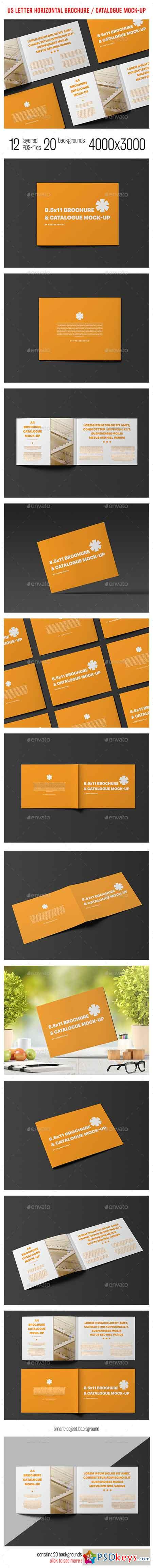 US Letter Horizontal Catalogue Brochure Mock-Up 14453345