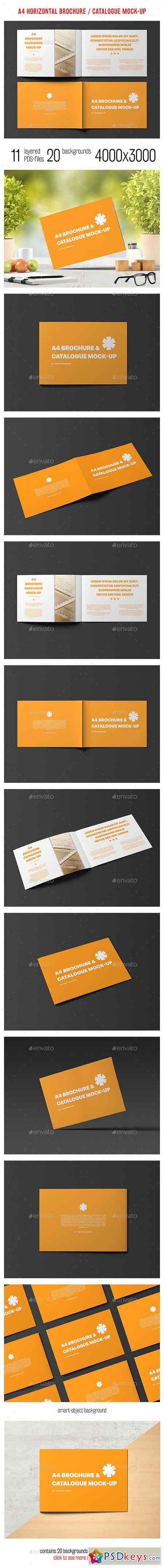 A4 Horizontal Brochure Catalogue Mock-Up 14417364