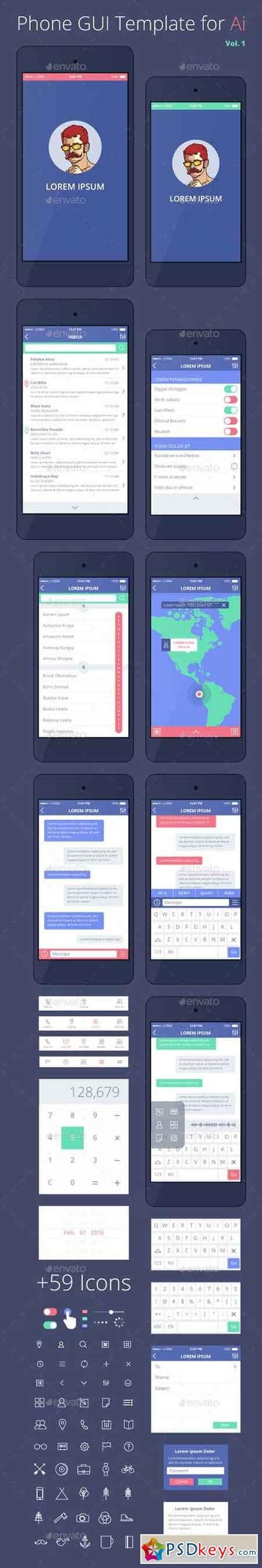 Phone GUI Template for Ai Wireframe UI Kit 14289034
