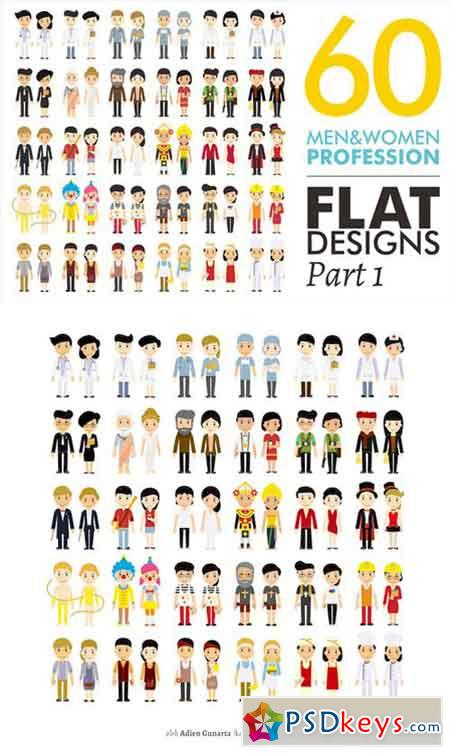 60 Men&Women Profession Flat Designs 1013448