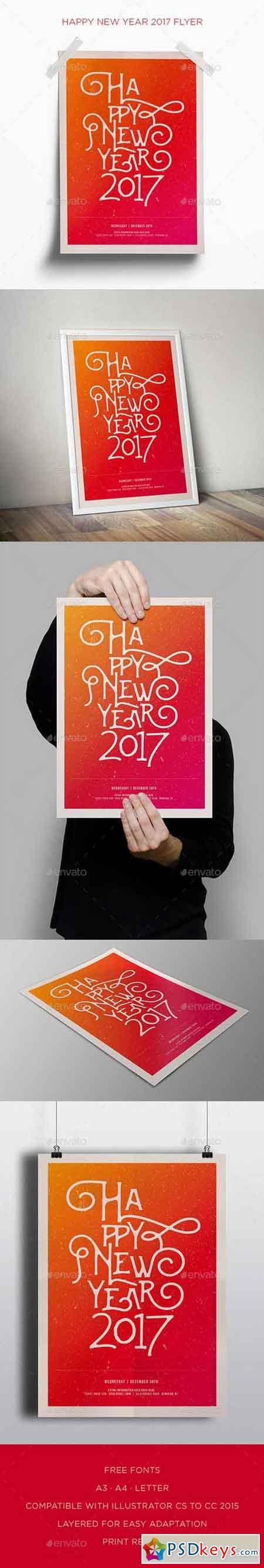 Happy New Year 2017 Flyer 18255867