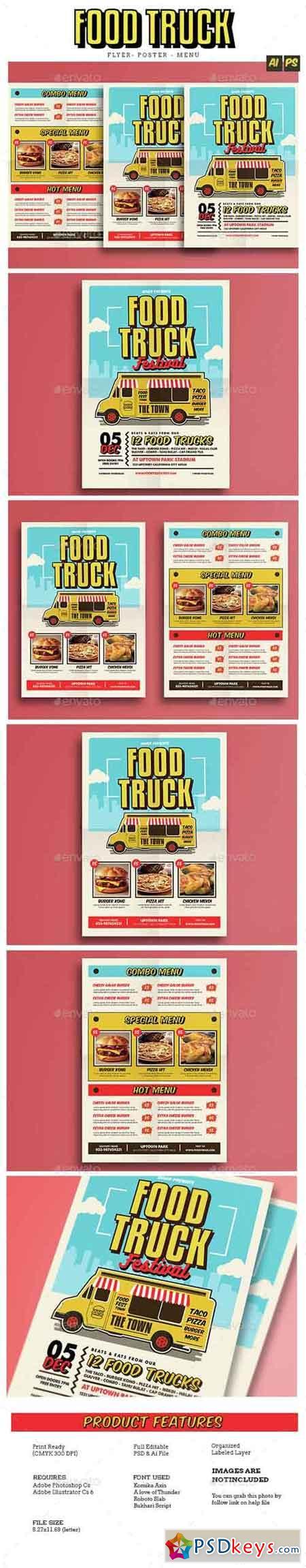 Pop Art Food Truck Flyer Poster Menu 14857358