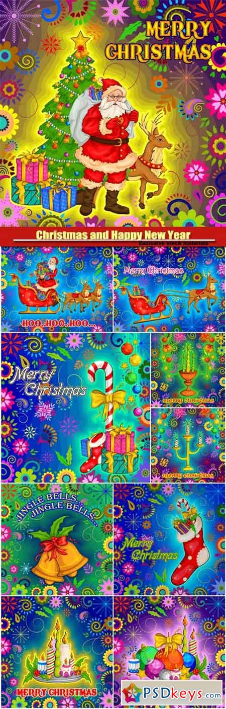 Merry Christmas and Happy New Year, vector design of Santa with gift, celebration background