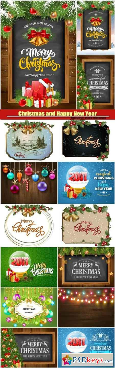 Christmas and Happy New Year, decorative elements, frame with Christmas decorations