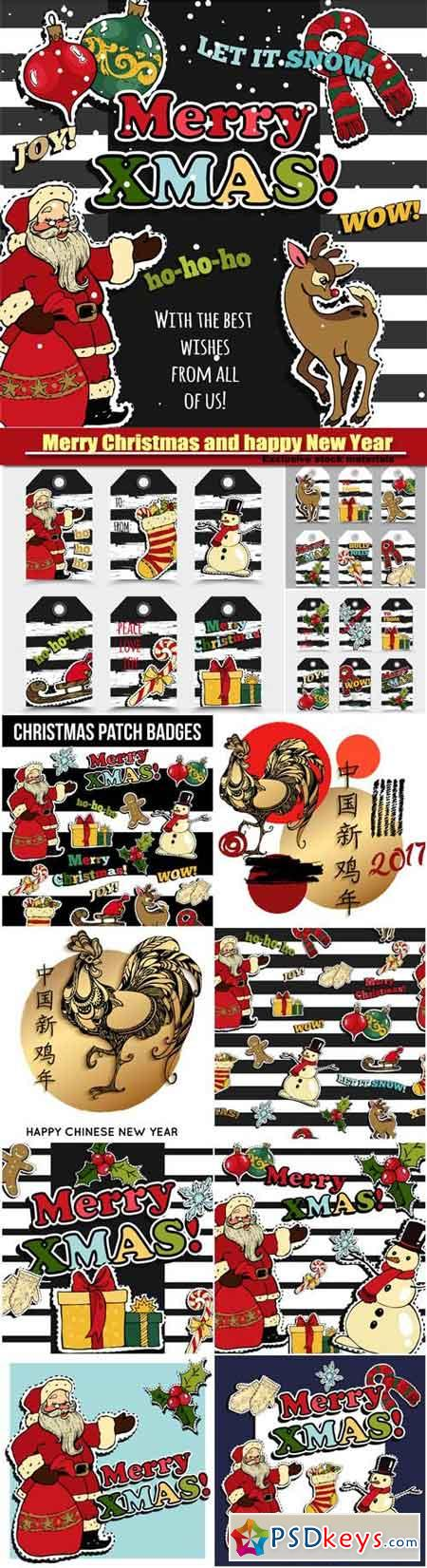Merry Christmas and happy New Year greeting card design with retro patch badges, stickers