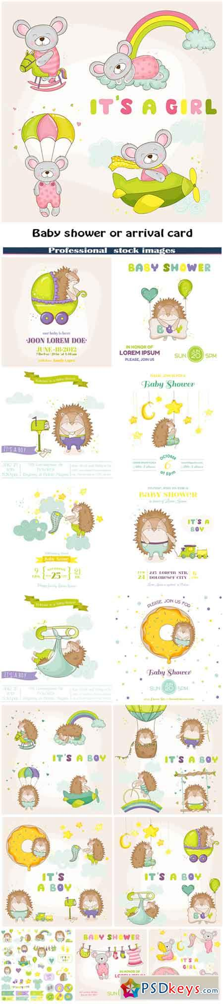 Baby shower or arrival card - Baby hedgehog and baby mouse