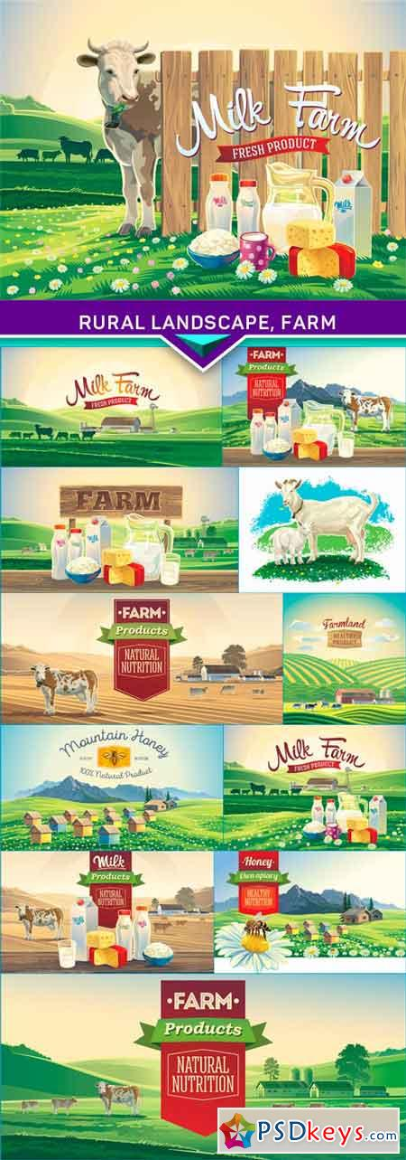 Rural landscape, farm and set of milk products 1 12x EPS