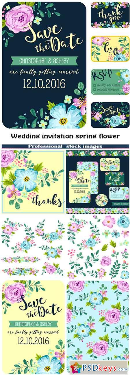 Wedding invitation spring flower