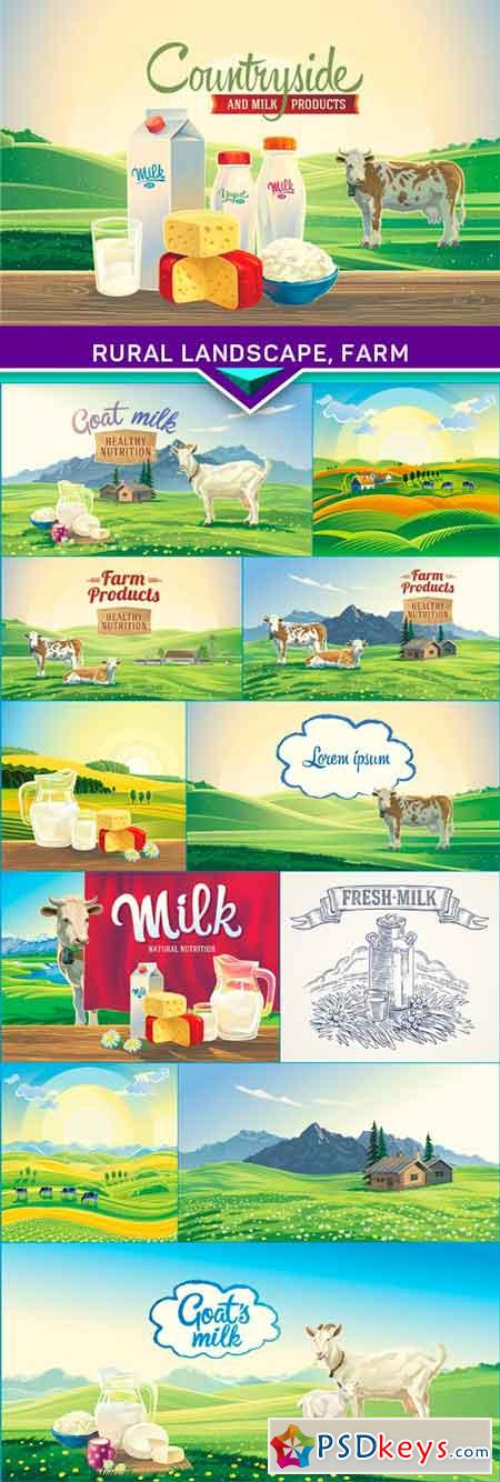 Rural landscape, farm and set of milk products 2 12x EPS