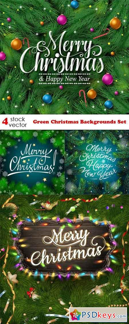 Green Christmas Backgrounds Set