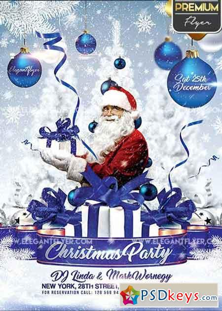 Christmas Party Invitation V3 Flyer PSD Template + Facebook Cover