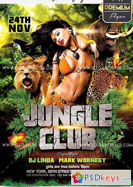 Jungle Club V5 Flyer PSD Template + Facebook Cover