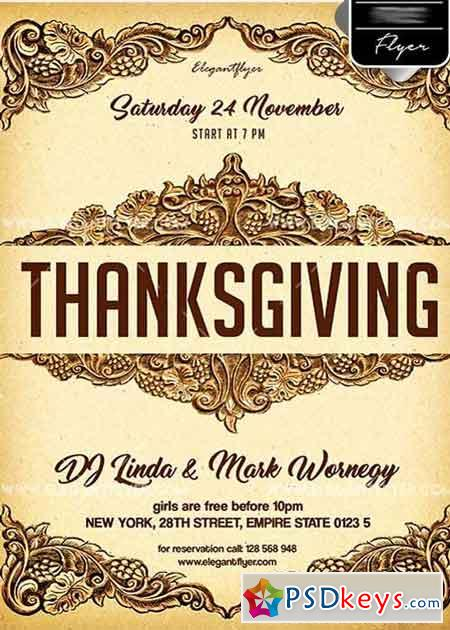 Thanksgiving Day V18 Flyer PSD Template + Facebook Cover
