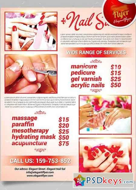 Nail Salon V4 Flyer PSD Template + Facebook Cover