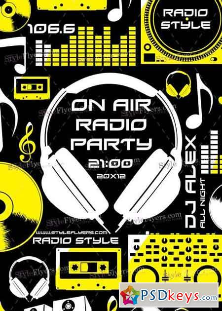 On Air Radio Party V7 PSD Flyer Template