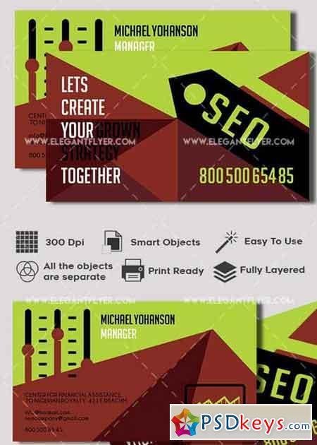SEO V1 Premium Business card PSD Template