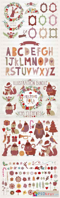 Festive Folk Illustration Bundle 452122
