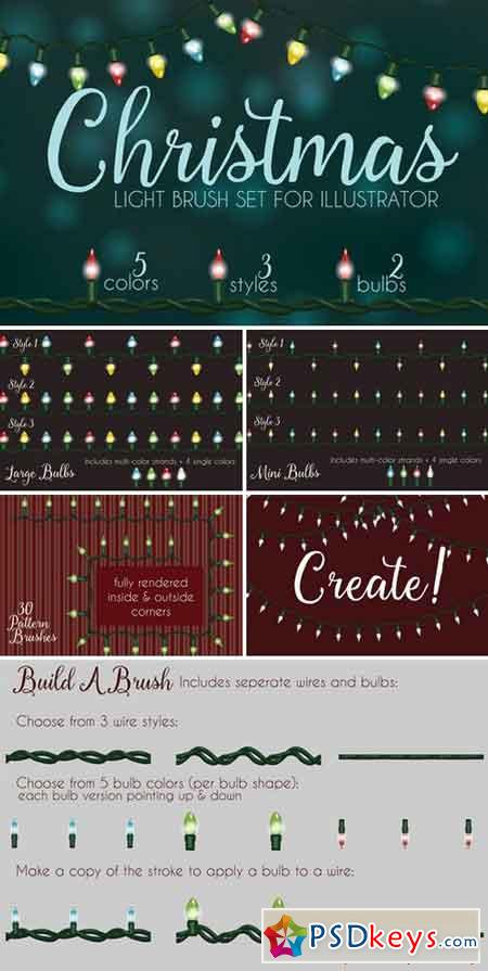 Christmas light brushes Illustrator 1027558