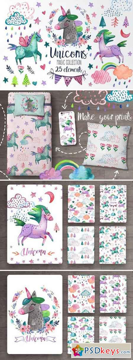 Watercolor unicorn magic collection 1025509