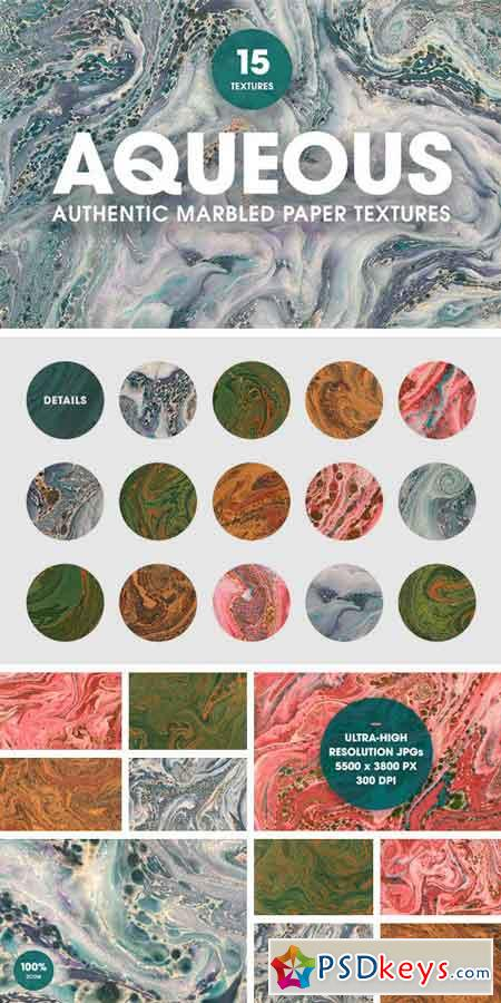 15 Authentic Marbled Paper Textures 1054025