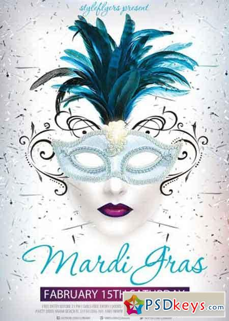 Mardi Gras V15 Psd Flyer Template With Facebook Cover Free