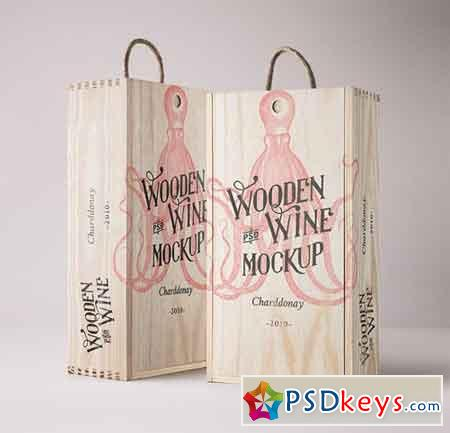 Wine Wood Box Mockup Vol 4