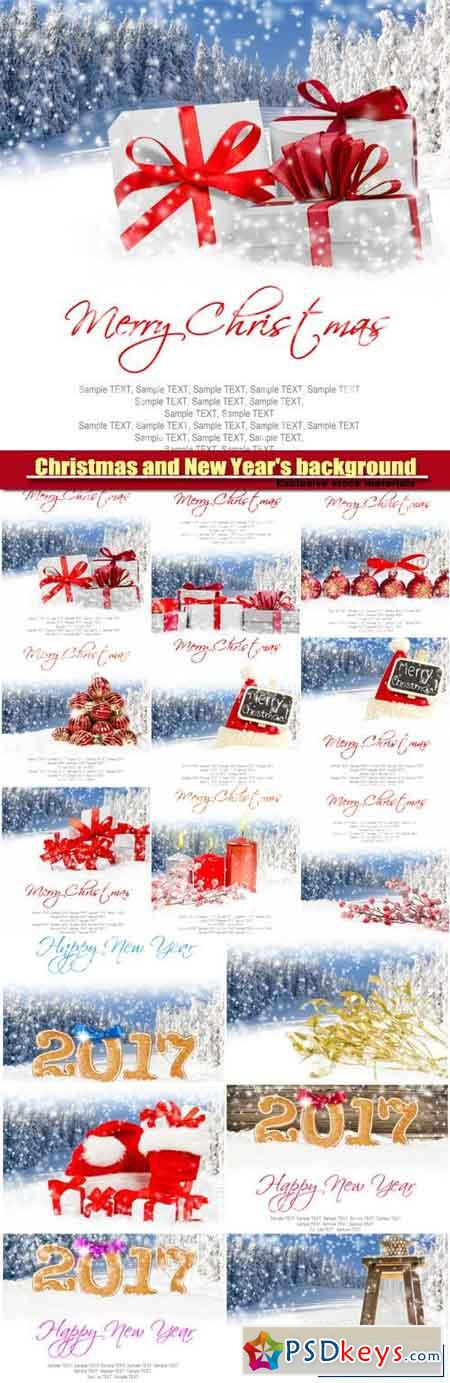 Christmas and New Year's background, gifts with colorful ribbons, falling snow