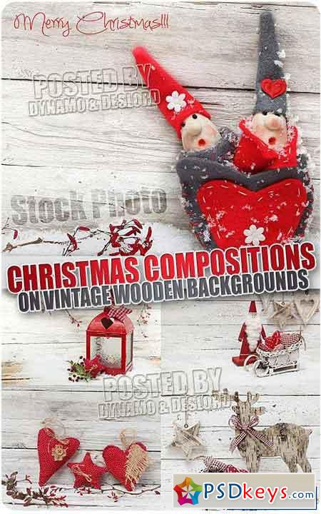 Xmas Compositions on vintage wooden backgrounds - UHQ Stock Photo