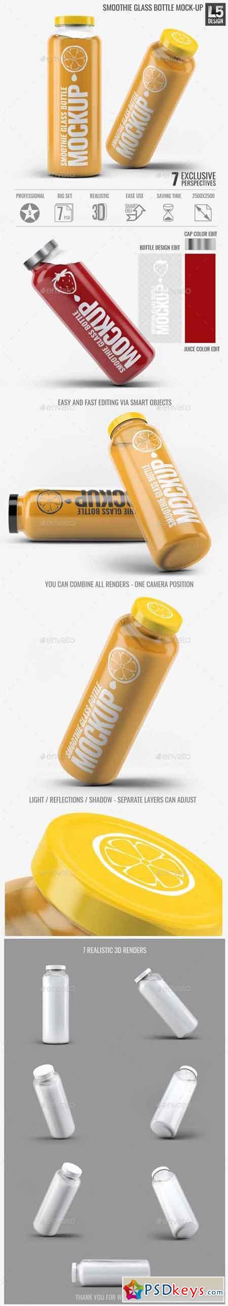 Smoothie Glass Bottle Mock-Up 15513642