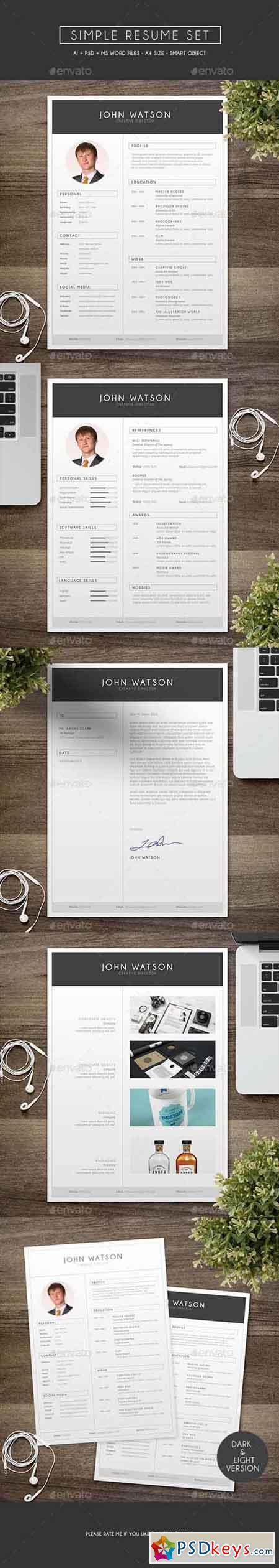 simple resume set 13607824  u00bb free download photoshop